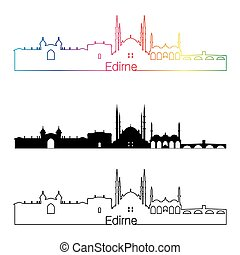 Edirne skyline linear style with rainbow