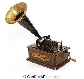 Edison gramophone on white background