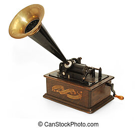 gramophone - Edison gramophone on white background