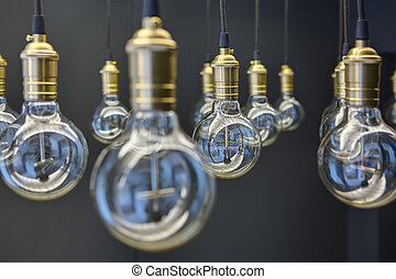 Edison lamps suspended from the ceiling in a regular ...