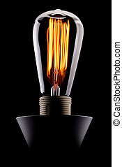 Edison light bulb glowing