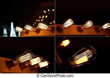 Edison light bulb hanging on a long wire. Cozy warm yellow light