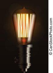 Edison light bulb on dark vector design element - Edison ...