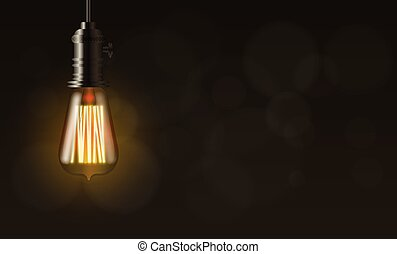 Edison light bulb, vector background with copy space - ...