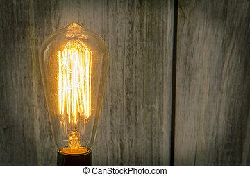 Edison Lightbulb Wooden Wall