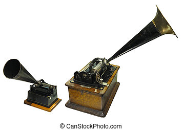 Edison phonograph sound recorder and player gramophone isolated on white background