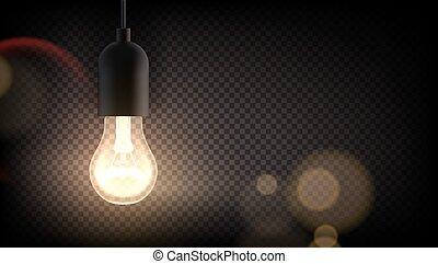 Edison Retro Light Bulb Glowing In The Dark On Transparent ...