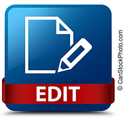 Edit blue square button red ribbon in middle