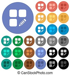 Edit component multi colored flat icons on round backgrounds. Included white, light and dark icon variations for hover and active status effects, and bonus shades on black backgounds.