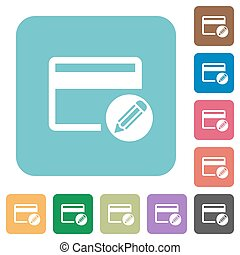 Edit credit card rounded square flat icons