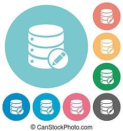 Edit database flat round icons