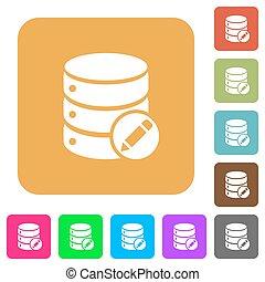 Edit database rounded square flat icons