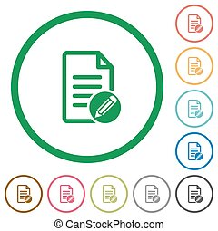 Edit document flat icons with outlines