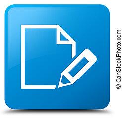 Edit document icon cyan blue square button