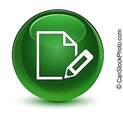 Edit document icon glassy soft green round button