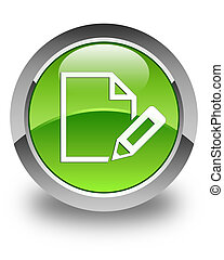 Edit document icon glossy green round button