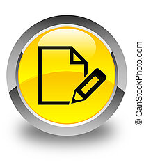 Edit document icon glossy yellow round button