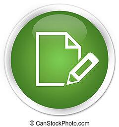 Edit document icon premium soft green round button
