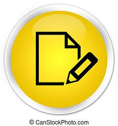Edit document icon premium yellow round button