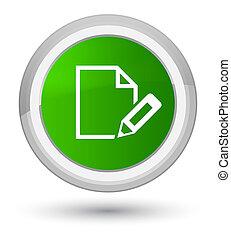 Edit document icon prime green round button