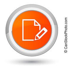 Edit document icon prime orange round button