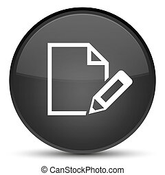 Edit document icon special black round button