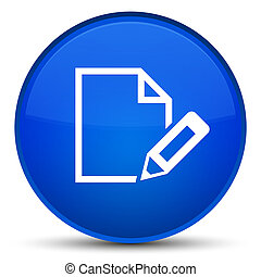 Edit document icon special blue round button