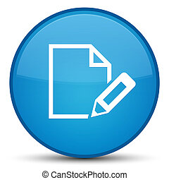 Edit document icon special cyan blue round button