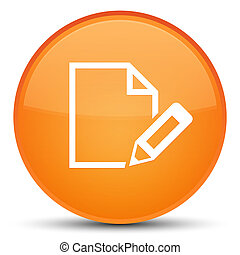 Edit document icon special orange round button