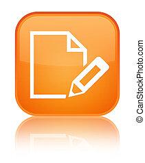 Edit document icon special orange square button