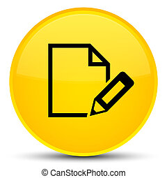Edit document icon special yellow round button