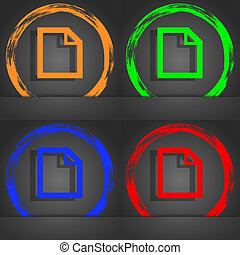 Edit document sign icon. content button. Fashionable modern style. In the orange, green, blue, red design.