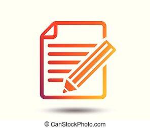 Edit document sign icon. Edit content button.