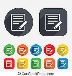 Edit document sign icon. Edit content button. Circles and...