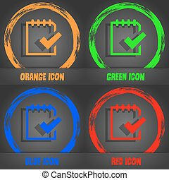 Edit document sign icon. Fashionable modern style. In the orange, green, blue, red design. Vector