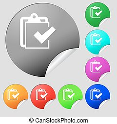 Edit document sign icon. Set of eight multi colored round buttons, stickers. Vector
