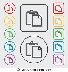 Edit document sign icon. Symbols on the Round and square buttons with frame. Vector
