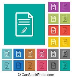 Edit document square flat multi colored icons