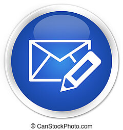 Edit email icon blue glossy round button