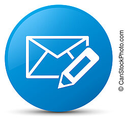 Edit email icon cyan blue round button