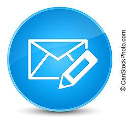 Edit email icon elegant cyan blue round button