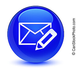 Edit email icon glassy blue round button