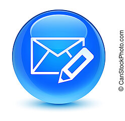 Edit email icon glassy cyan blue round button