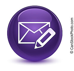 Edit email icon glassy purple round button