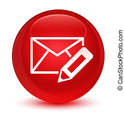 Edit email icon glassy red round button