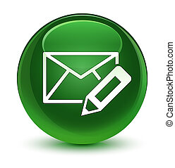 Edit email icon glassy soft green round button
