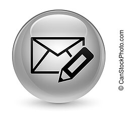 Edit email icon glassy white round button