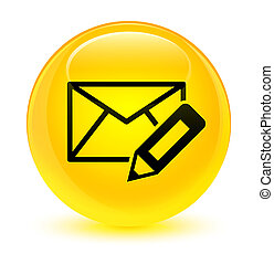 Edit email icon glassy yellow round button