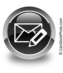 Edit email icon glossy black round button