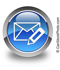 Edit email icon glossy blue round button